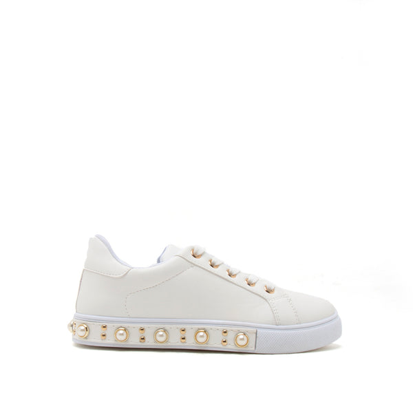 Rexford-02A White Embellished Lace Up Sneaker
