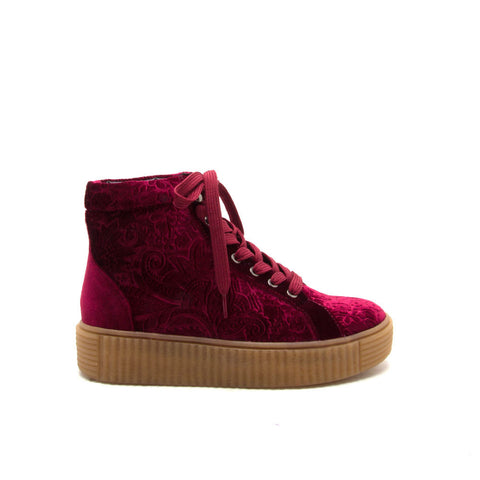 RICHMOND-01 Burgundy Velvet Embossed High Top Sneaker