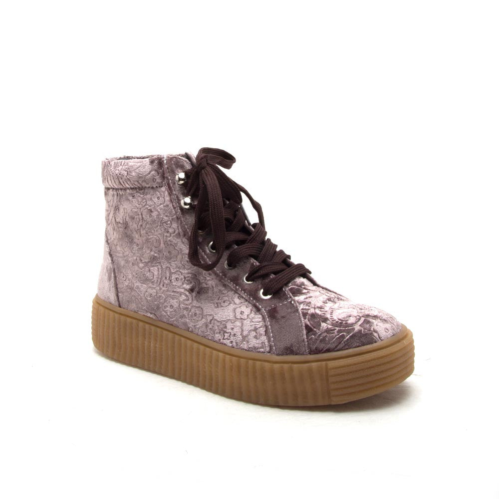 RICHMOND-01 Mauve Velvet Embroidered High Top Sneaker