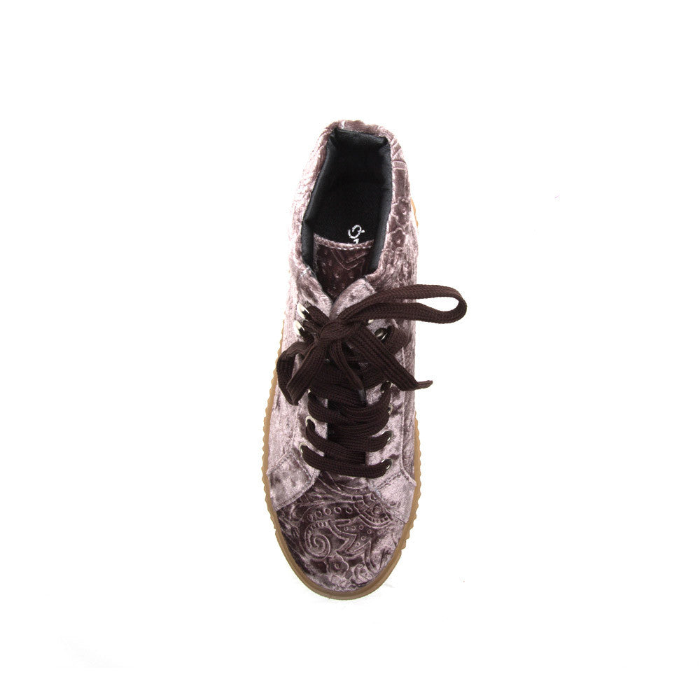 RICHMOND-01 Mauve Velvet Embossed High Top Sneaker