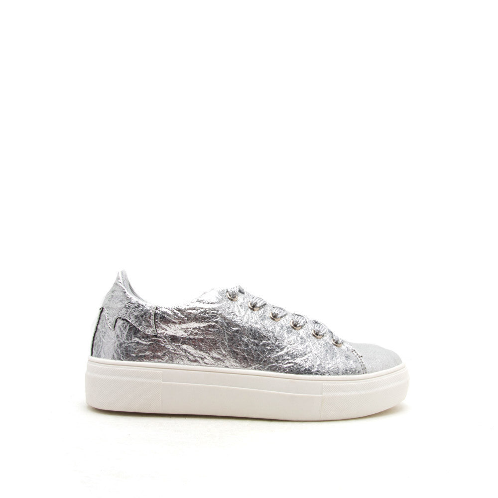 Rincon-01 Silver Metallic Lace Up Sneaker