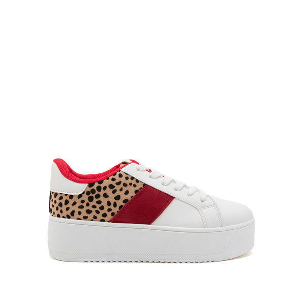 Riza-01 White Camel Leopard Lace Up Sneakers