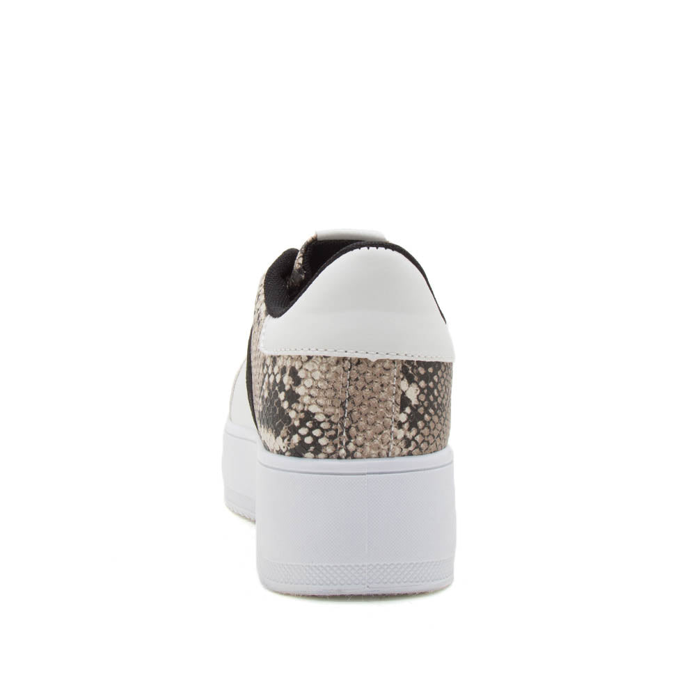 Riza-01 White Snake Lace Up Sneakers