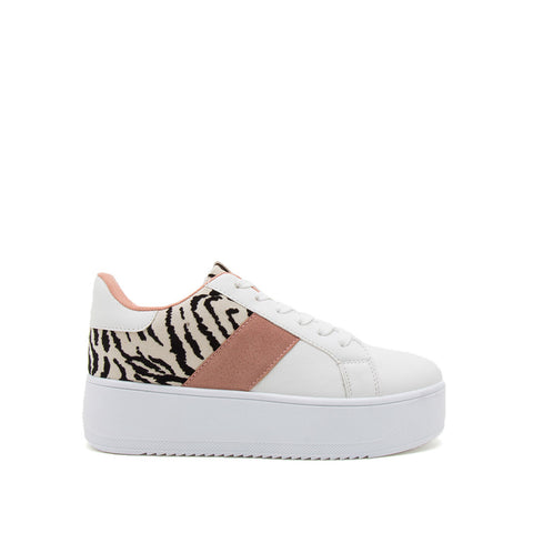 Riza-01 White Zebra Lace Up Sneakers