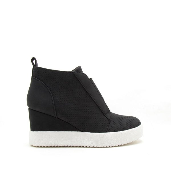 Rodina-01 Black Wedge Sneakers