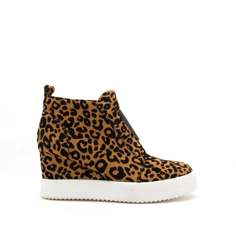 Rodina-01X Camel Black Leopard Wedge Sneakers