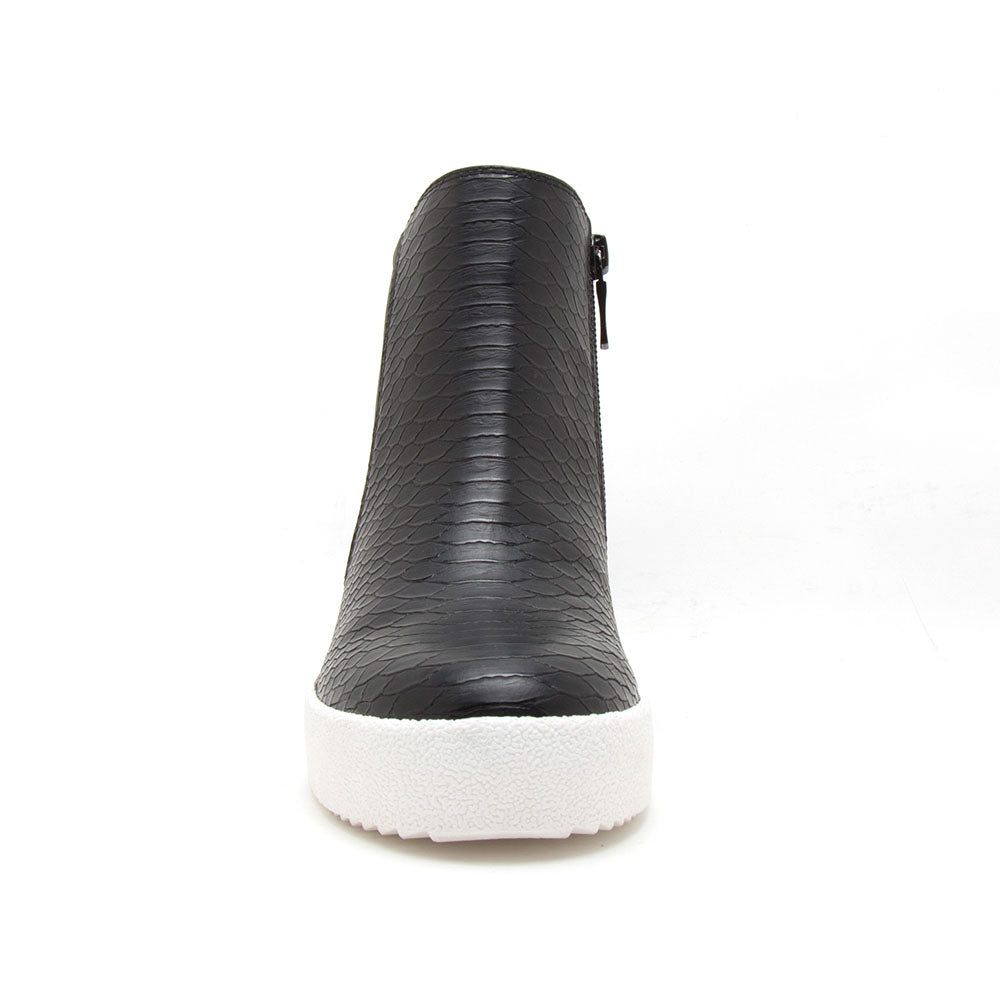 Rodina-02 Black Snake Wedge Sneakers