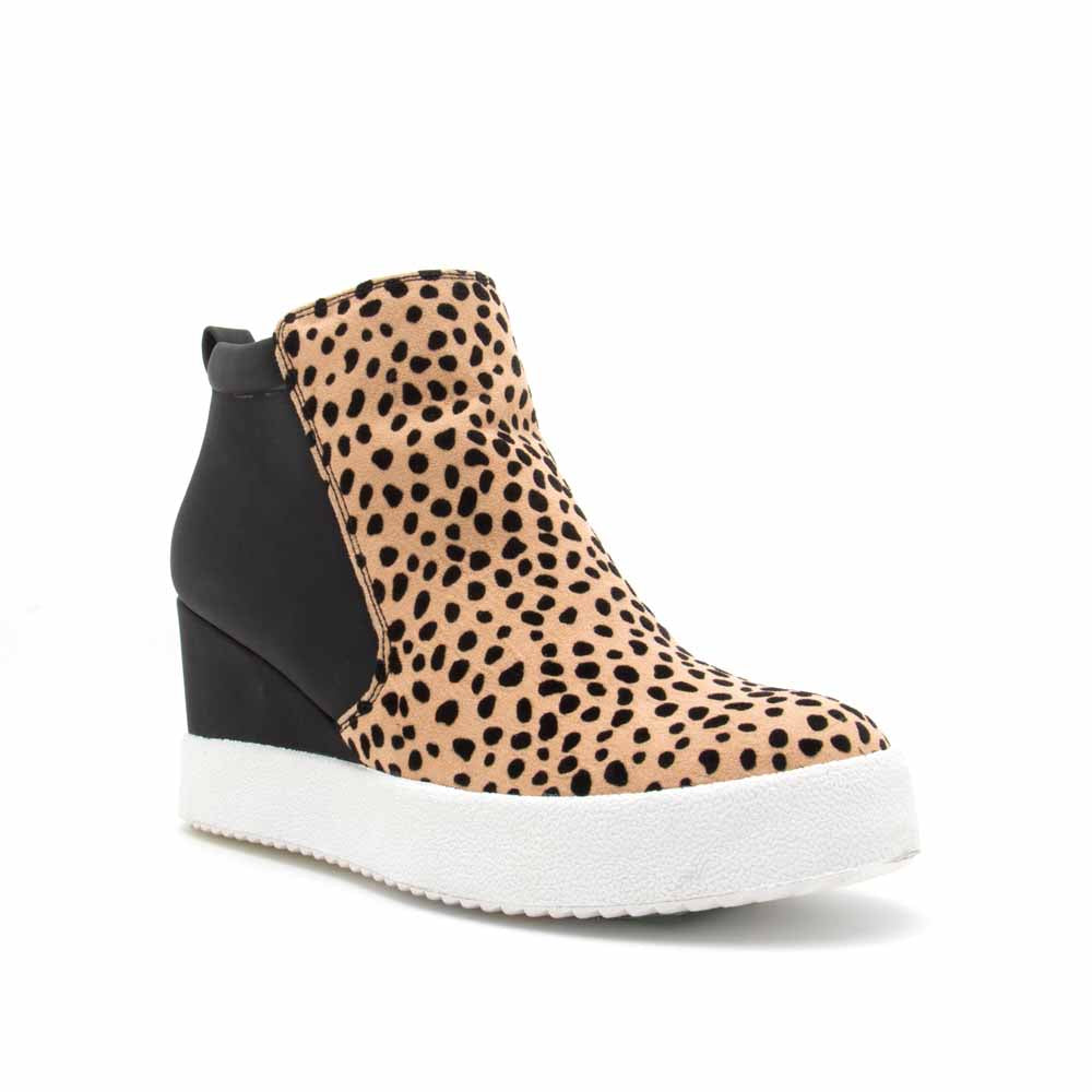 Rodina-02 Tan Black Leopard Wedge Sneakers