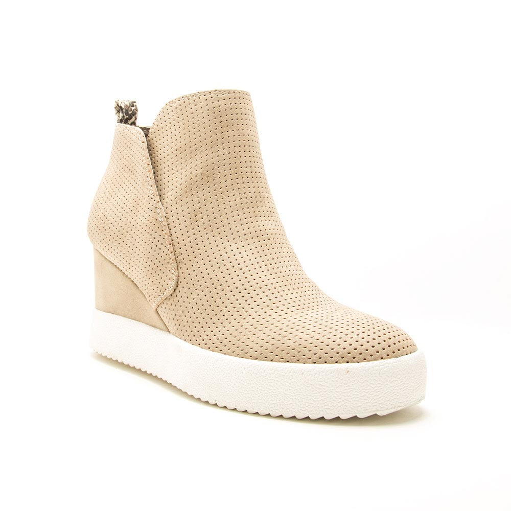 Rodina-04 Light Taupe Perforated Wedge Sneakers