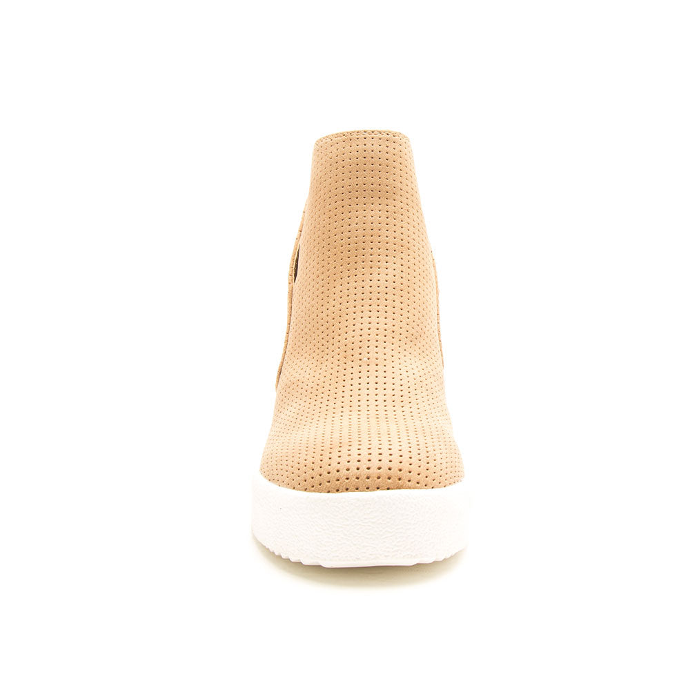 Rodina-04 Tan Perforated Wedge Sneakers