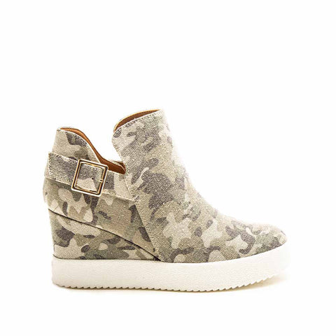 Rodina-05 Khaki Camo Wedge Sneakers