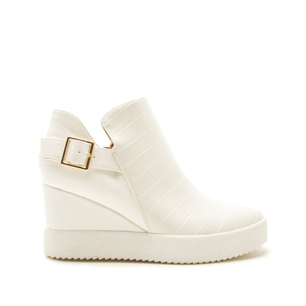 Rodina-05 White Croco Wedge Sneakers