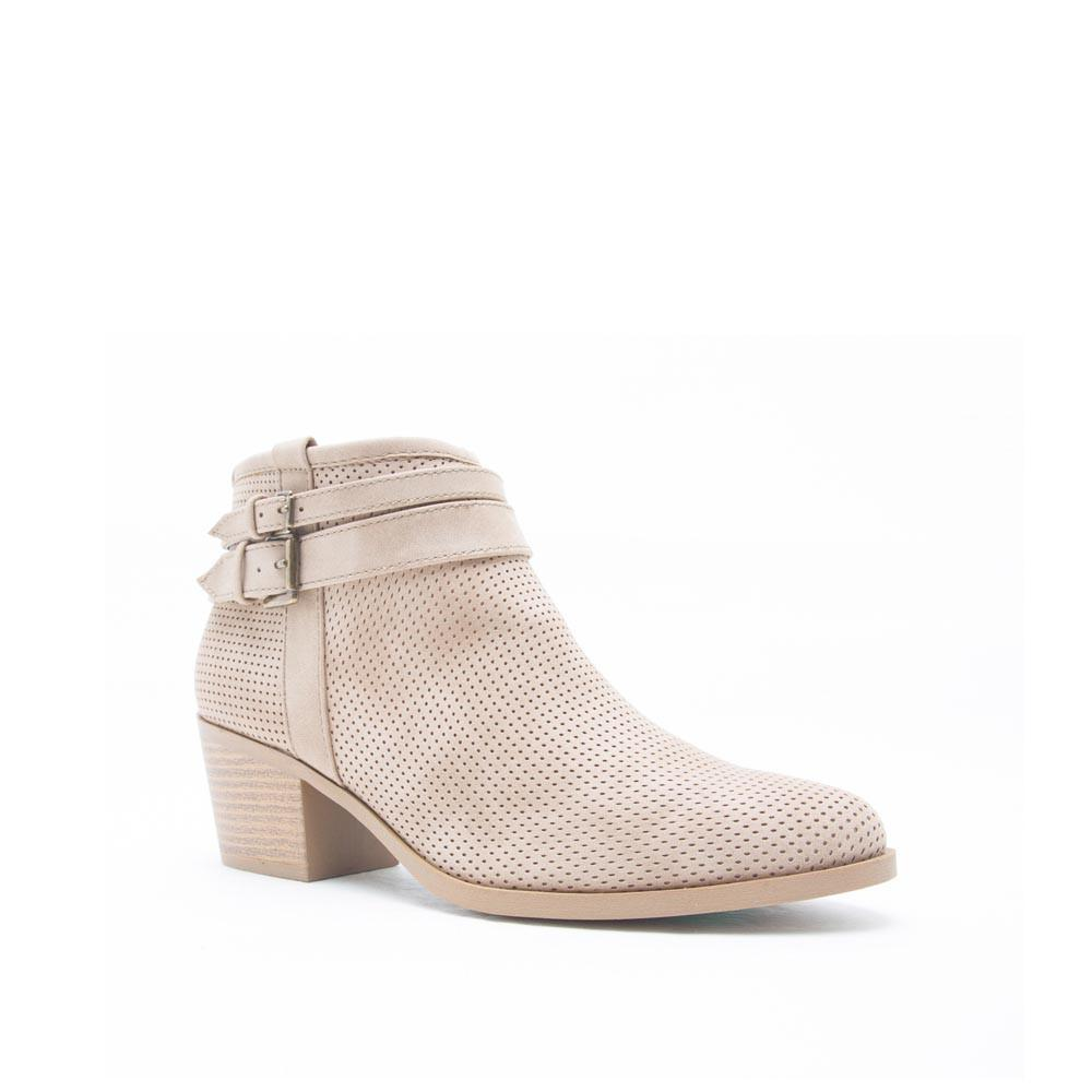 ROVER-13 Stone Perforated Skinny Buckle Bootie