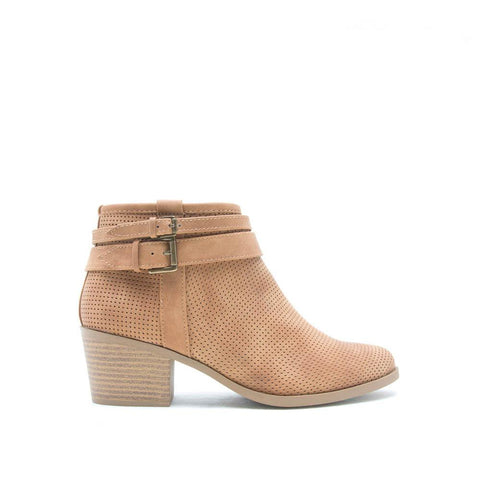 ROVER-13 Tan Perforated Skinny Buckle Bootie