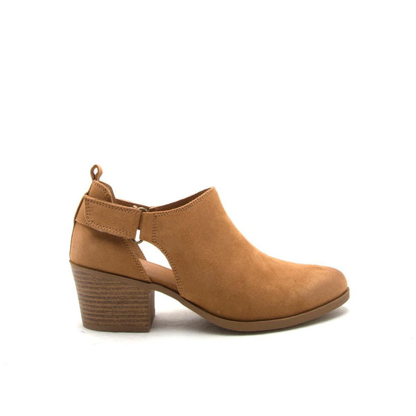 ROVER-26 Camel Oil Side Strap Ankle Bootie