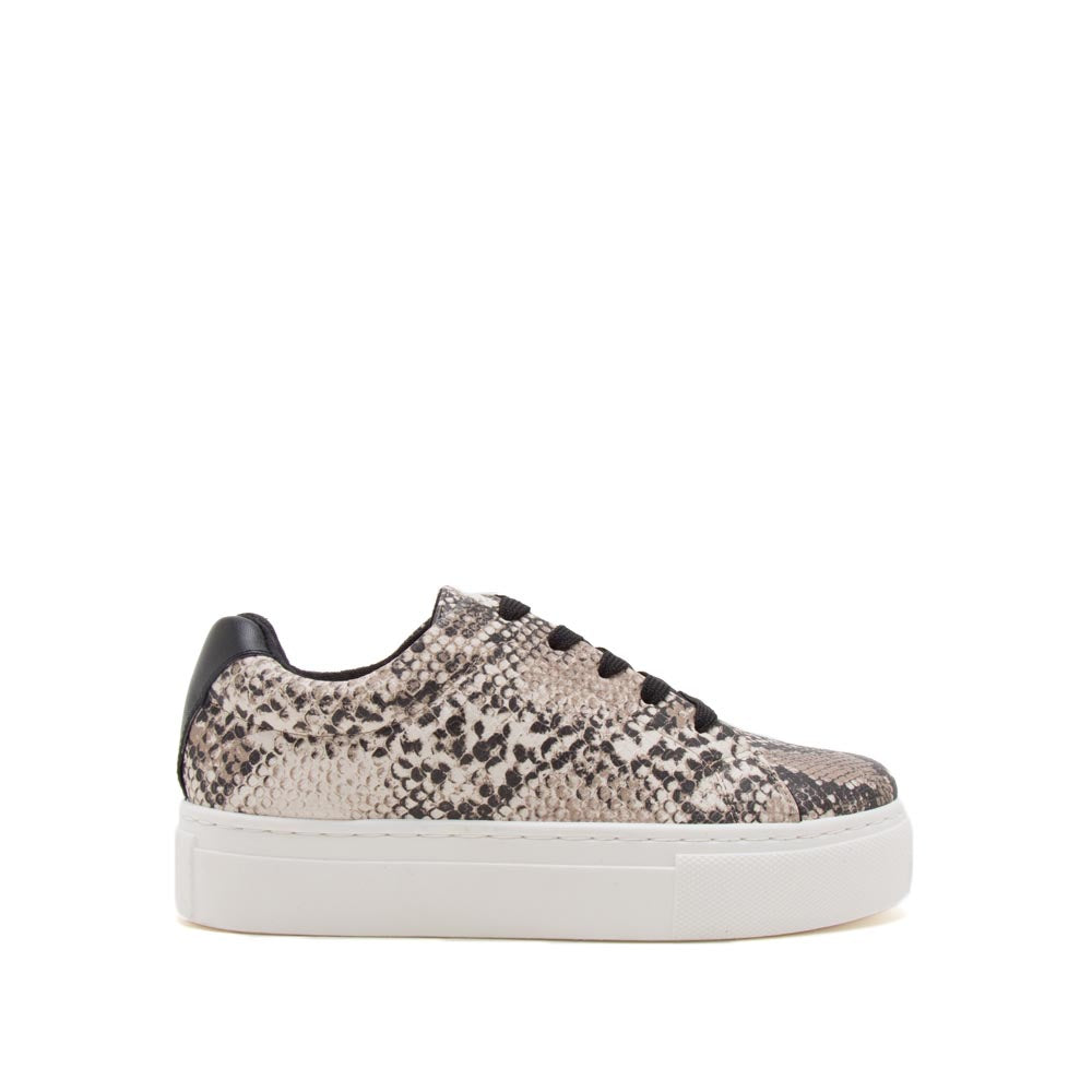 Royal-09A Beige Brown Snake Lace Up Sneakers