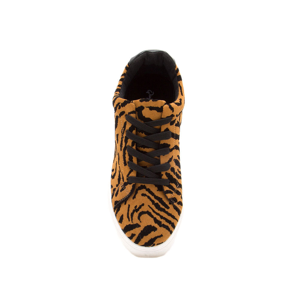 Royal-09A Camel Black Tiger Lace Up Sneakers