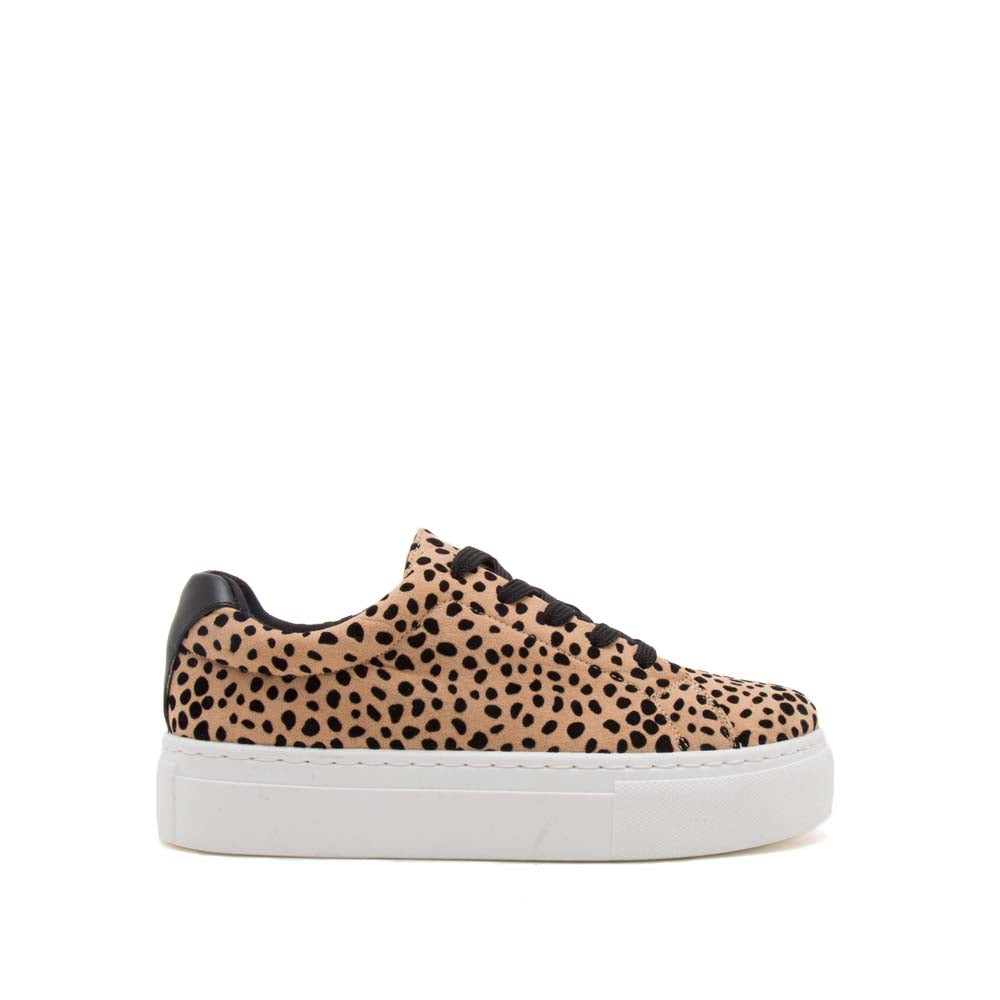 Royal-09A Tan Black Leopard Lace Up Sneakers