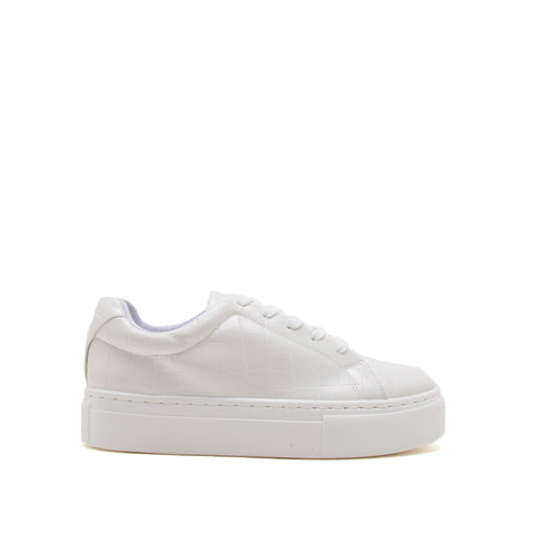 Royal-09A White Crocodile Lace Up Sneakers