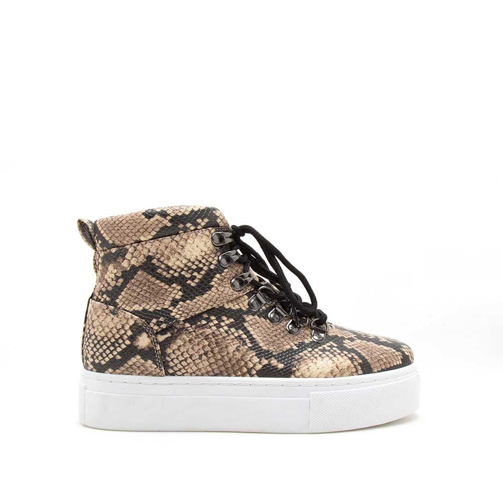 Royal-10AX Beige Black Snake Lace-Up High Top Sneakers