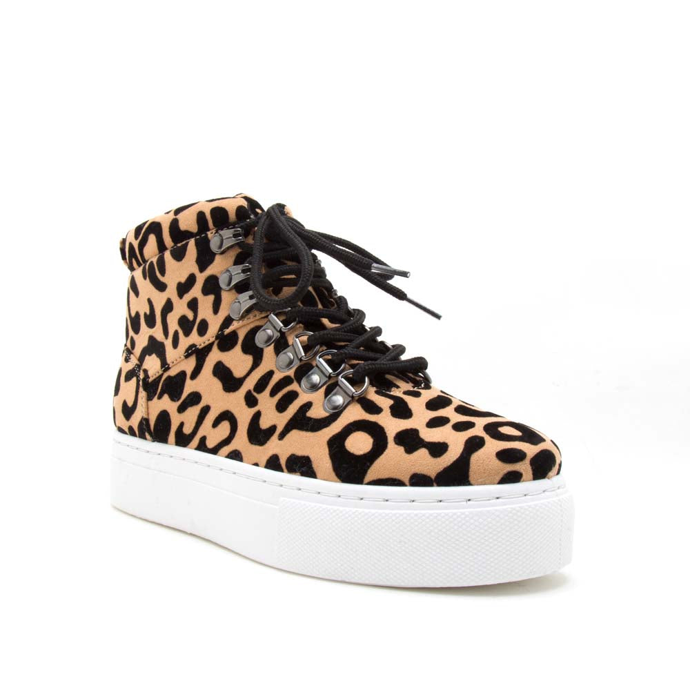 Royal-10AX Tan Black Leopard Lace-Up High Top Sneakers