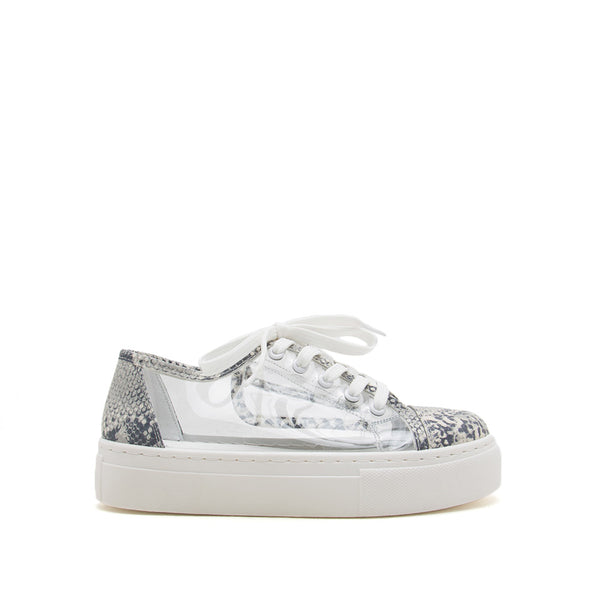 Royal-17A White Grey Snake Lace Up Sneakers