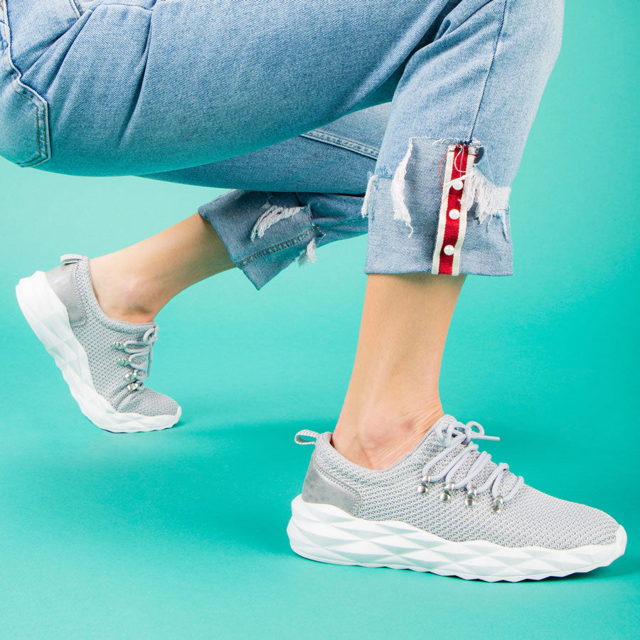 Ryder-01 Light Grey Lace Up Sneakers