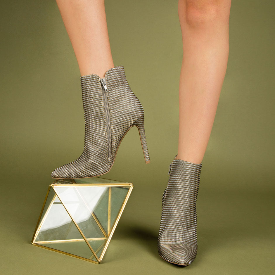 Sangria-11A Silver Champagne Glitter Bootie