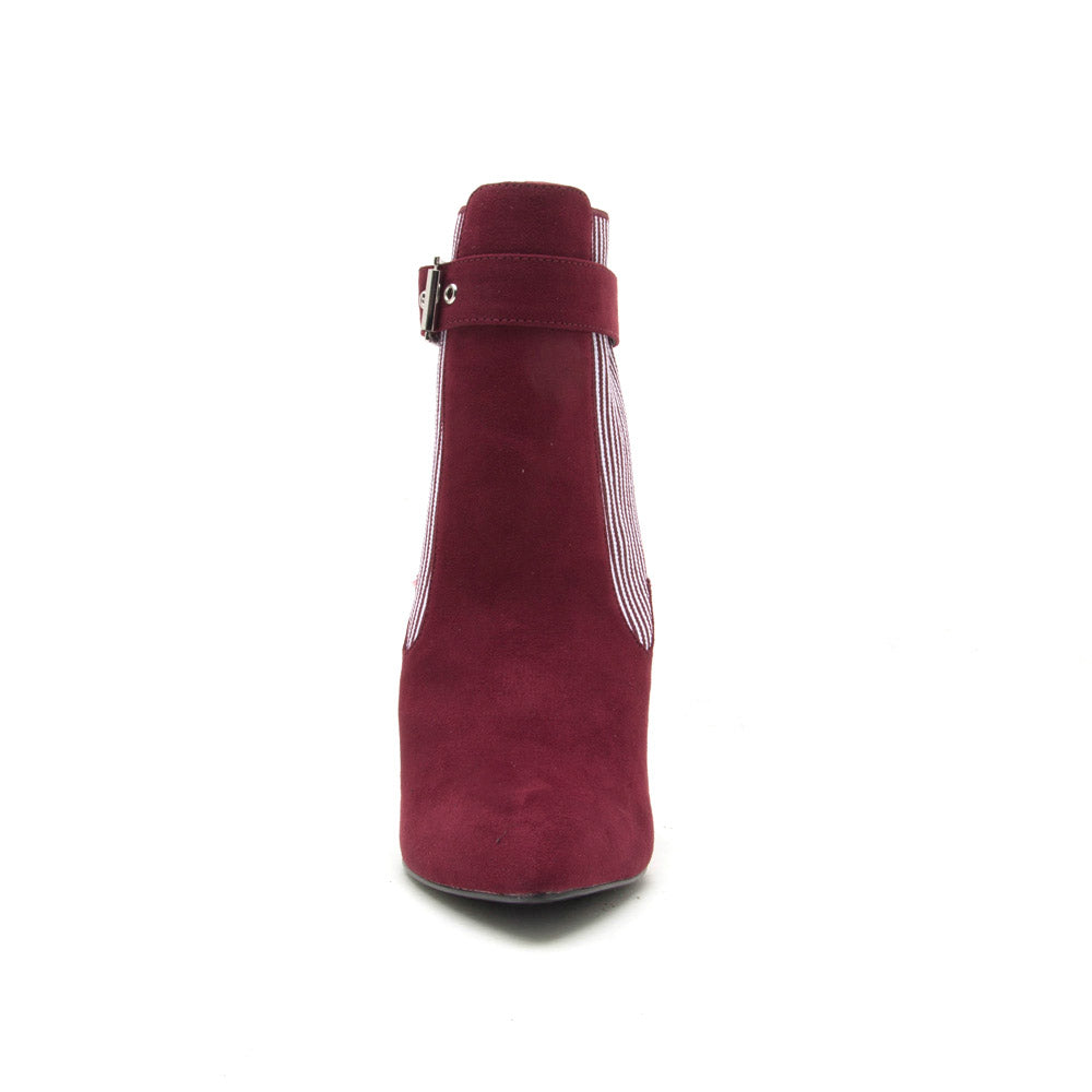 Sangria-12A Burgundy Buckle On Bootie