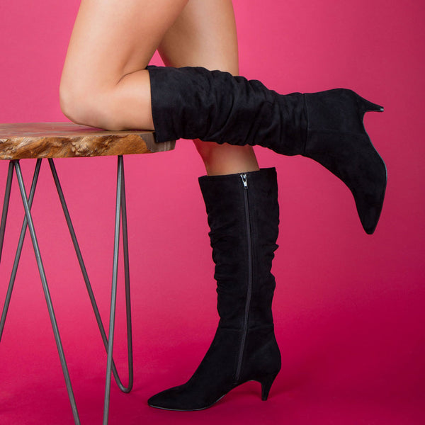 Saucy-09 Black Slouchy Boot