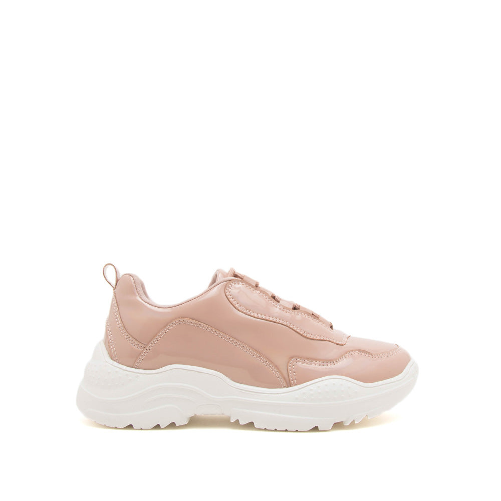 Savita-02 Nude Hologram Lace Up Sneaker