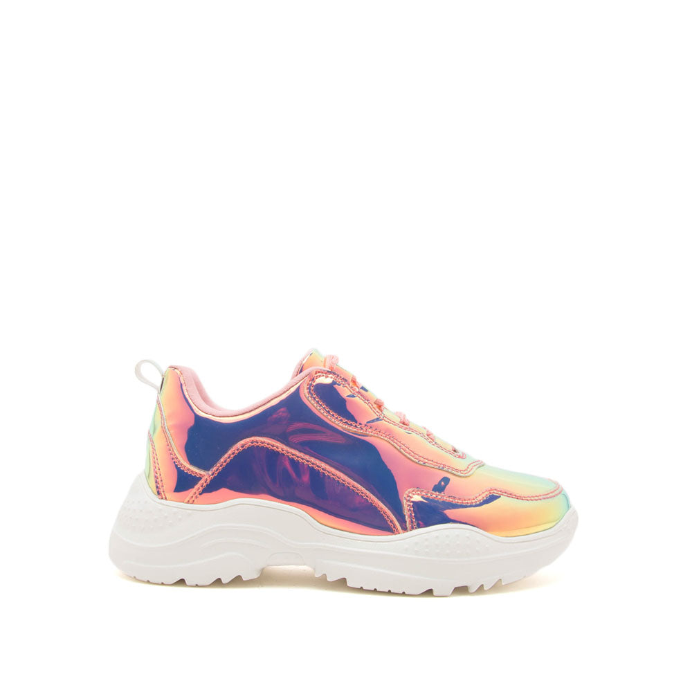 Savita-02 Rosa Pink Hologram Lace Up Sneaker
