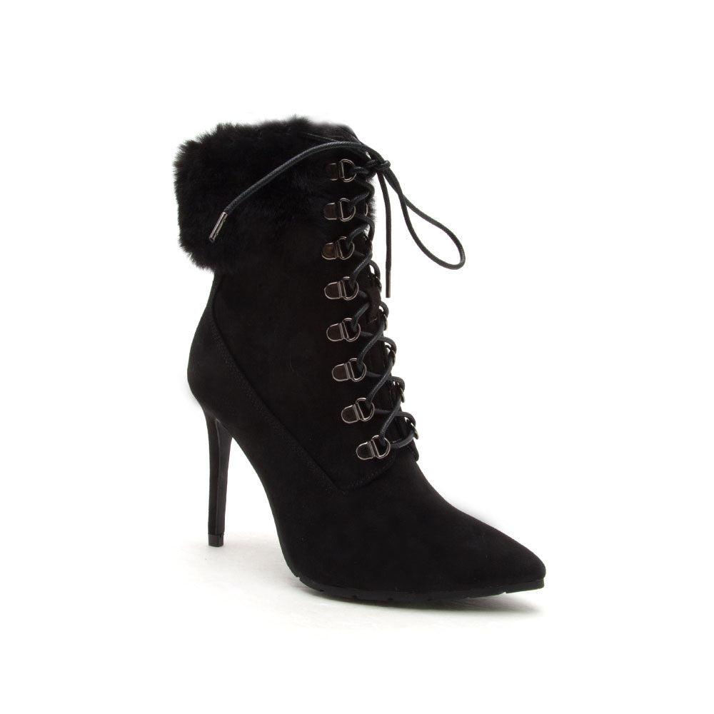 Scorpio-05 Black Lace Up Fur Stiletto Bootie