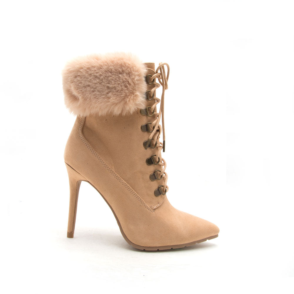 Scorpio-05 Toffee Lace Up Fur Stiletto Bootie