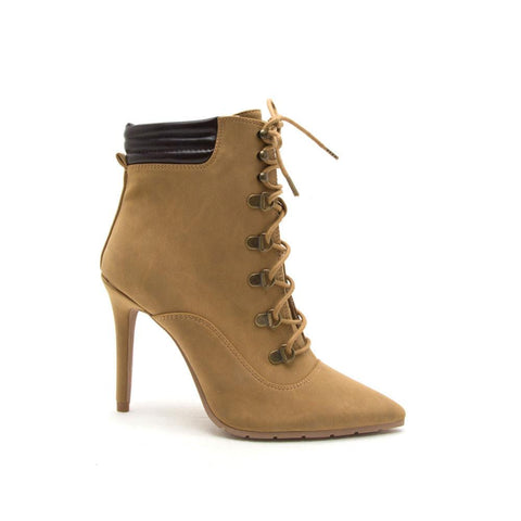 Scorpio-06 Camel Lace Up Pointed Booties