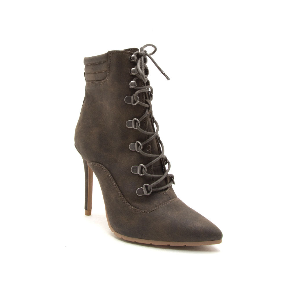 Scorpio-06 Khaki Lace Up Pointed Booties