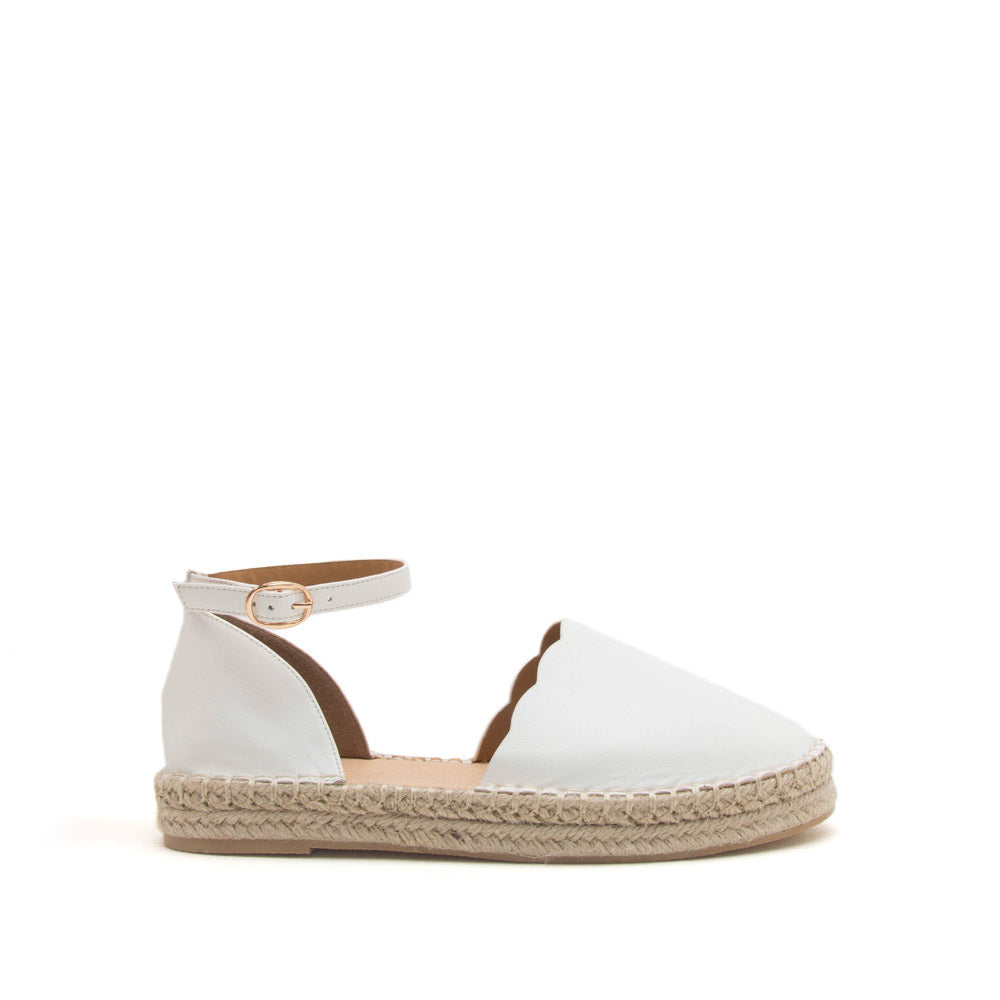Sequoia-06X White Scalloped Open Shank Ballerinas