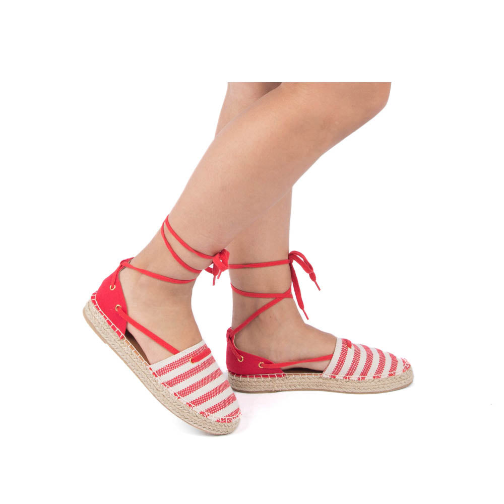 Sequoia-14 Red Beige Lace Up Ballerinas