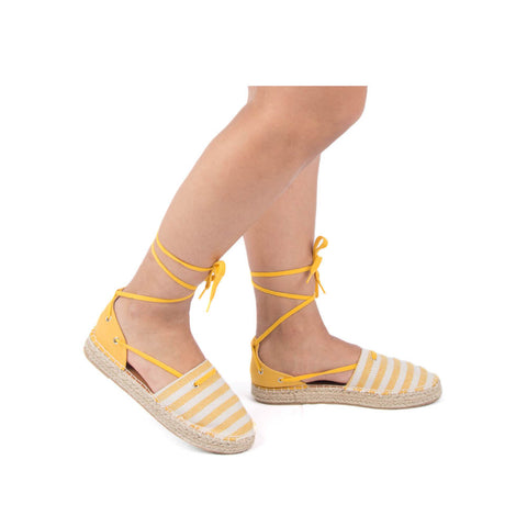 Sequoia-14 Yellow Beige Lace Up Ballerinas