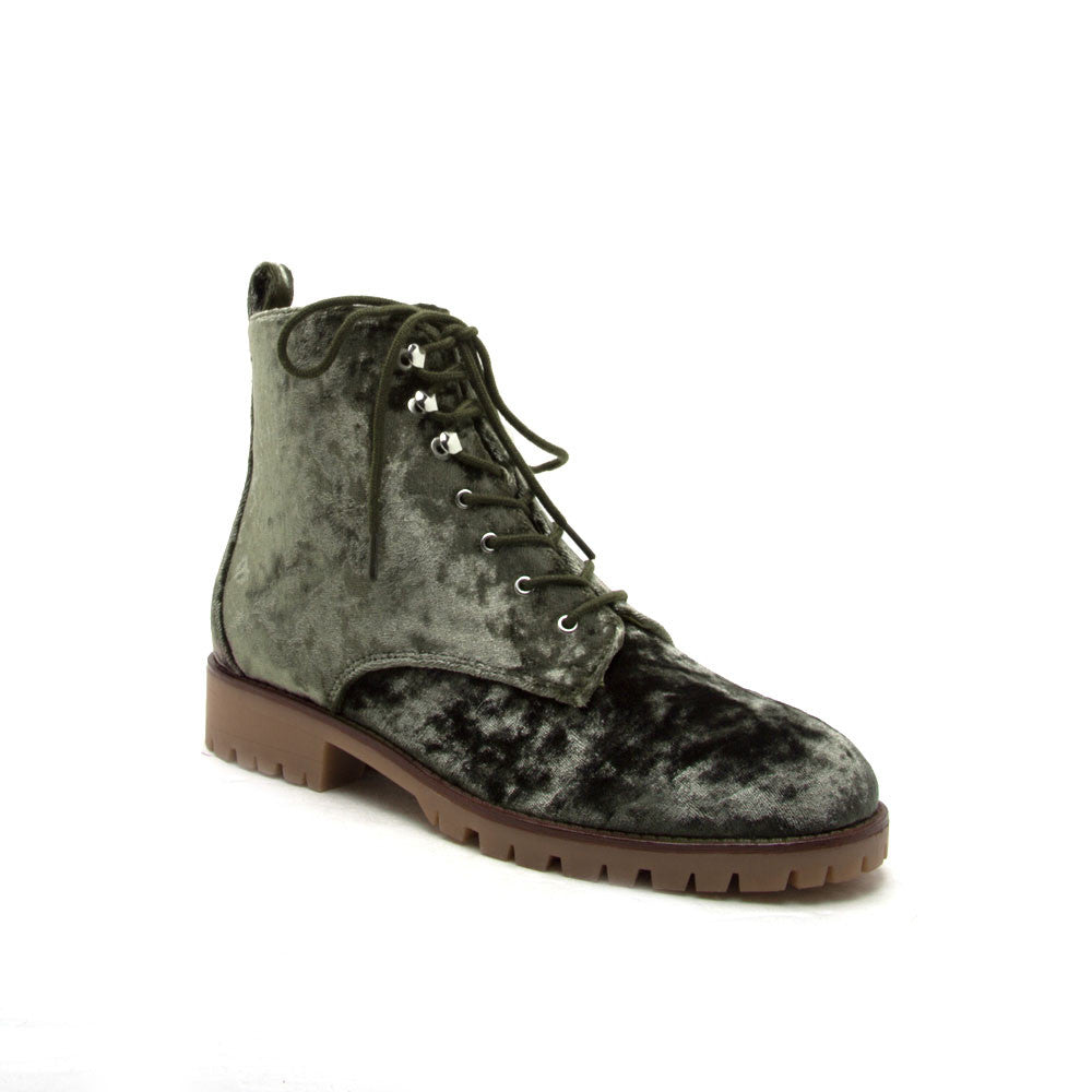 SEVERE-01 Khaki Velvet Lace Up Ankle Boots
