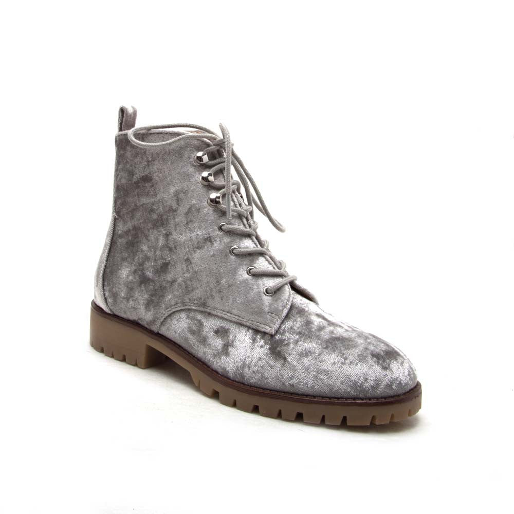 SEVERE-01 Light Grey Velvet Lace Up Ankle Boots