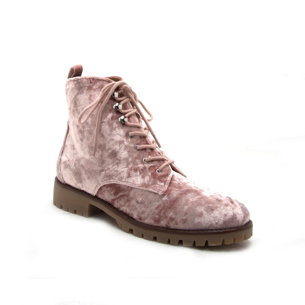 SEVERE-01 Pink Velvet Lace Up Ankle Boots