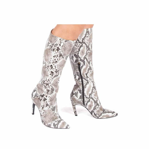 Shayla-16AXX Black White Snake Boots