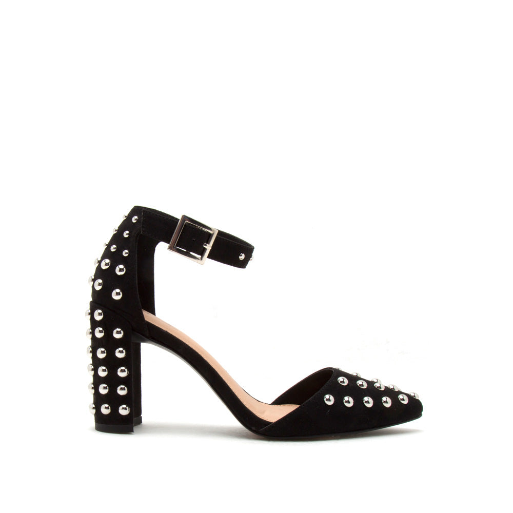 c675f84c6a4 Qupid Women Shoes Shimmer-01 Black Studded Ankle Strap Pump