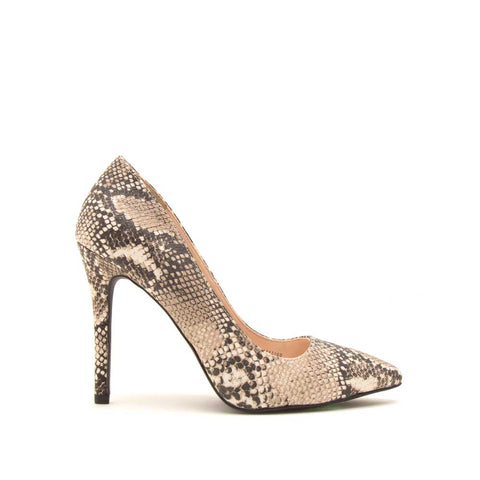 Show-01 Beige Brown Snake Pumps