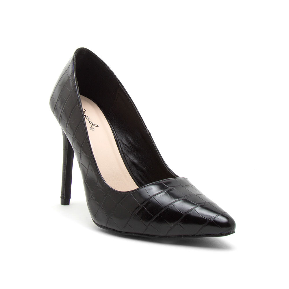 Show-01 Black Crocodile Pumps