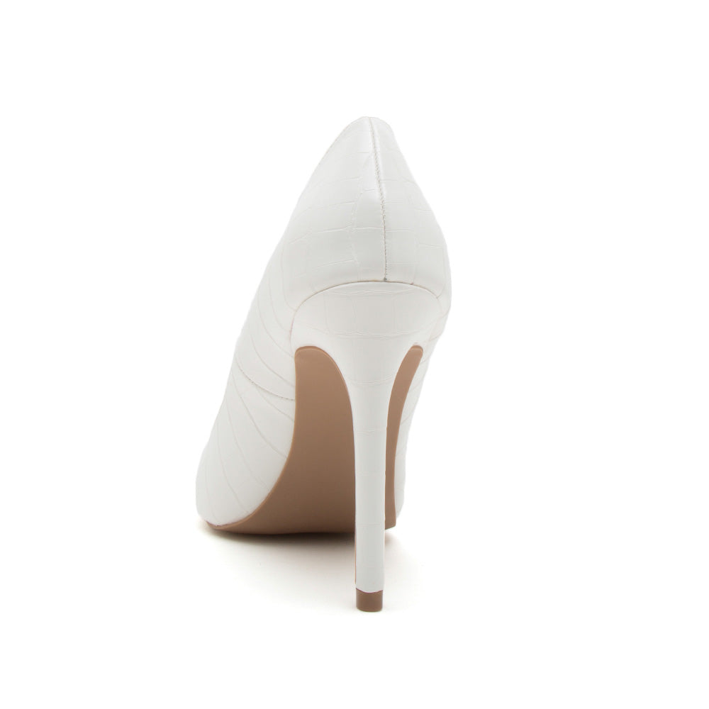 Show-01 White Crocodile Pumps