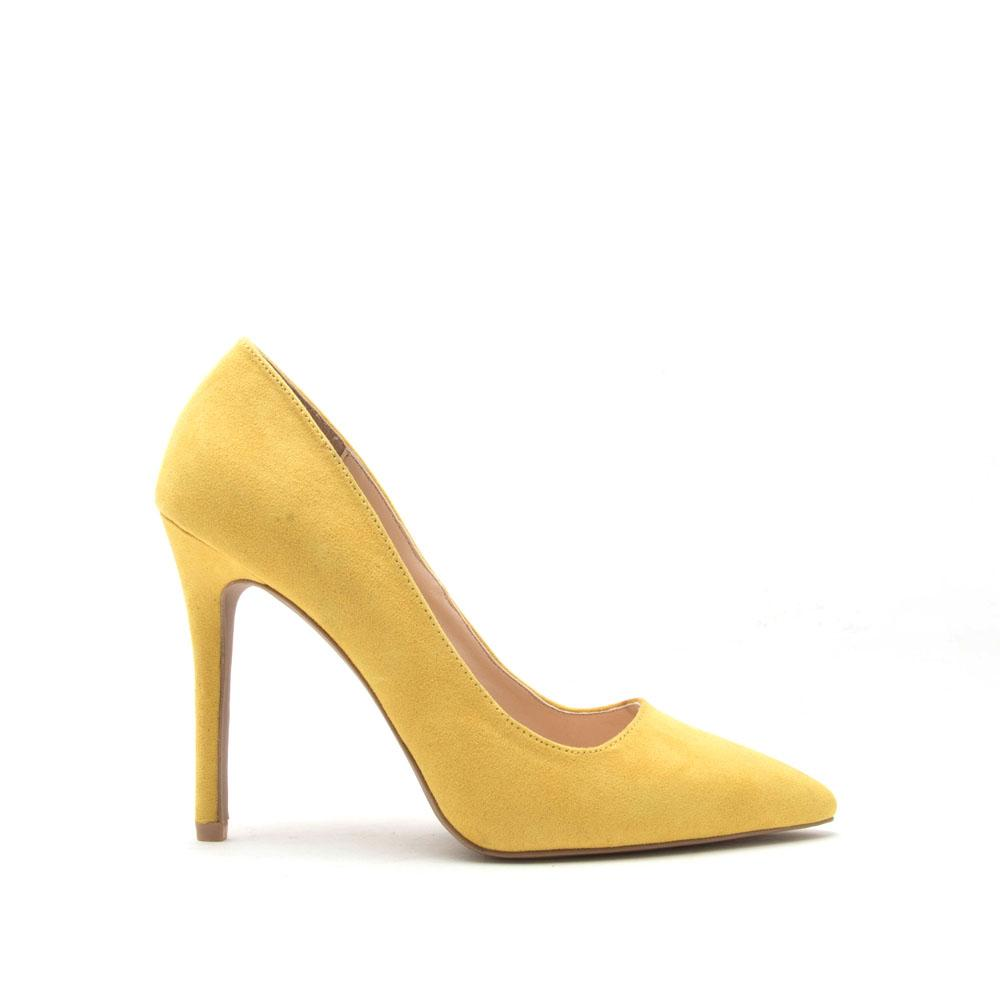 Qupid Women Shoes Show 01 Yellow Suede Pumps