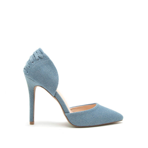 Show-02 Light Blue Denim Corset Pump