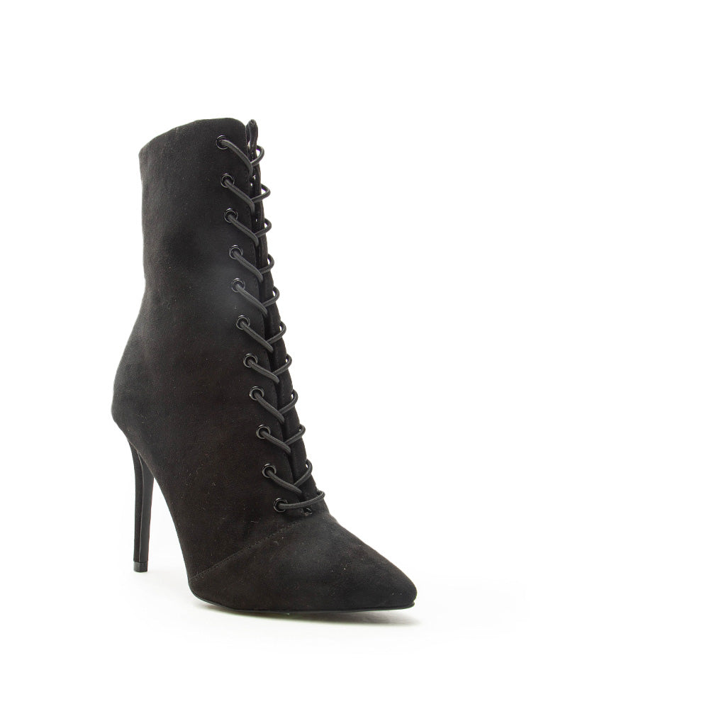 Show-193 Black Lace Up Booties